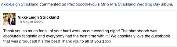 Vikki-Leigh Strickland wrote: 'Thank you so much for all of your hard work on our wedding night!.'